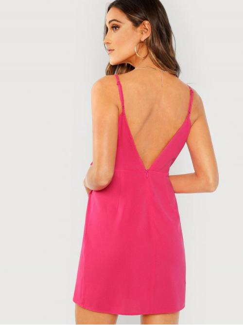 Beautiful Pink Plain Wrap Spaghetti Strap Neon Knot Side Dress
