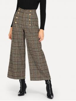 Elegant Plaid Wide Leg Regular Zipper Fly High Waist Multicolor Long Length Double Breasted Detail Palazzo Pants