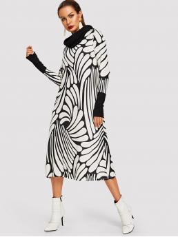 Casual A Line Geometric Loose Cowl Neck Long Sleeve Natural Black and White Long Length Cowl Neck Botanical Print Dress