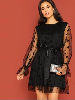 Glamorous A Line Geometric Regular Fit Round Neck Long Sleeve Flounce Sleeve Natural Black Short Length Star Mesh Overlay Ribbon Tie Dress with Belt with Lining