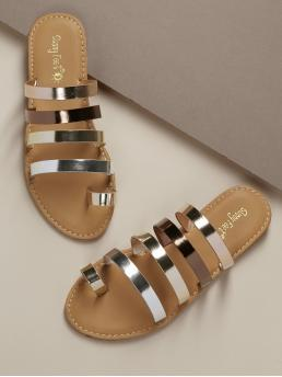 Boho Toe Post Silver Metallic Toe Loop Strappy Slide On Sandals