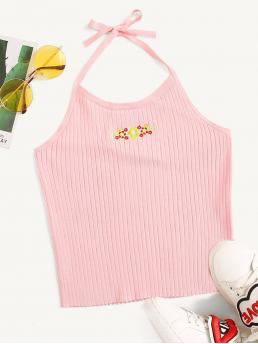 Casual Halter Slim Fit Halter Top Pink and Pastel Crop Length Embroidered Detail Rib-knit Halter Top