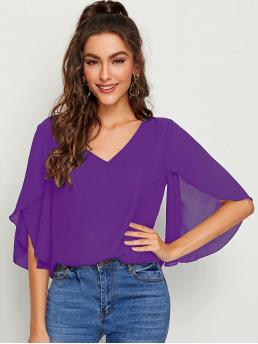 Casual Plain Top Regular Fit V neck Half Sleeve Pullovers Purple Regular Length Solid Split Sleeve Top
