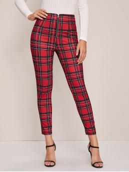 Preppy Plaid Skinny Skinny Zipper Fly High Waist Red and Bright Cropped Length Zip Fly Tartan Cropped Skinny Pants