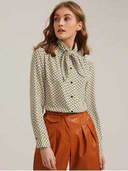 Elegant All Over Print Shirt Regular Fit Stand Collar Long Sleeve Regular Sleeve Placket Multicolor Regular Length Allover Print Tie Neck Blouse