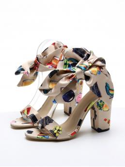 Womens Multicolor Strappy Sandals Bow High Heel Knot Decor Heels
