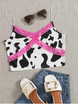 Pretty Cami Bow Front Polyester Colorblock Lace Panel Cow Print Top