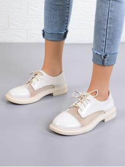 Beige Oxfords Round Toe Pu Leather Patent Leather Mesh Oxford Shoes on Sale