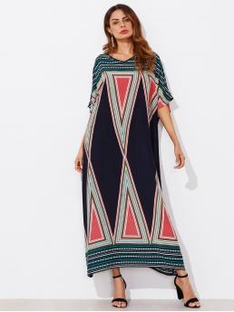 Boho Tunic Geometric Loose V neck Half Sleeve Natural Multicolor Maxi Length Geo Print Dolman Sleeve Oversized Dress