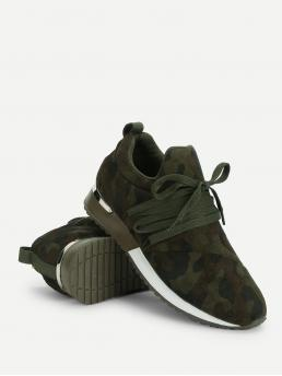 Comfort Camo Army Green Camo Print Lace Up Suede Sneakers