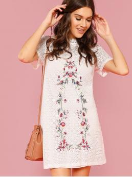 Casual Tunic Floral Straight Loose Round Neck Short Sleeve High Waist White Short Length Flower Embroidery Circle Pattern Dress