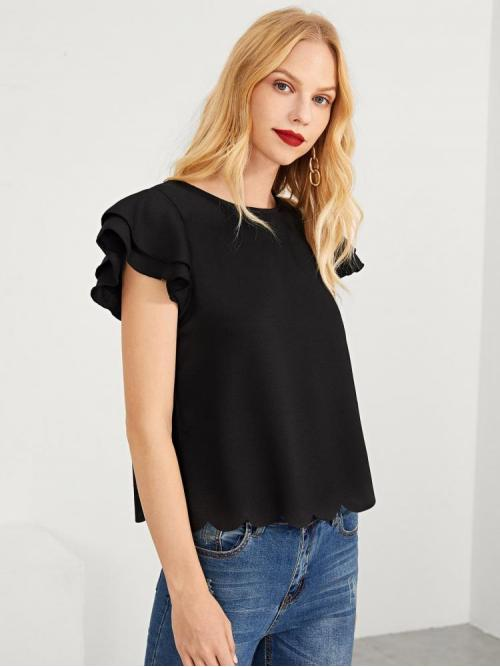 Affordable Short Sleeve Top Tiered Layer Chiffon Layered Ruffle Sleeve Scallop Hem Top