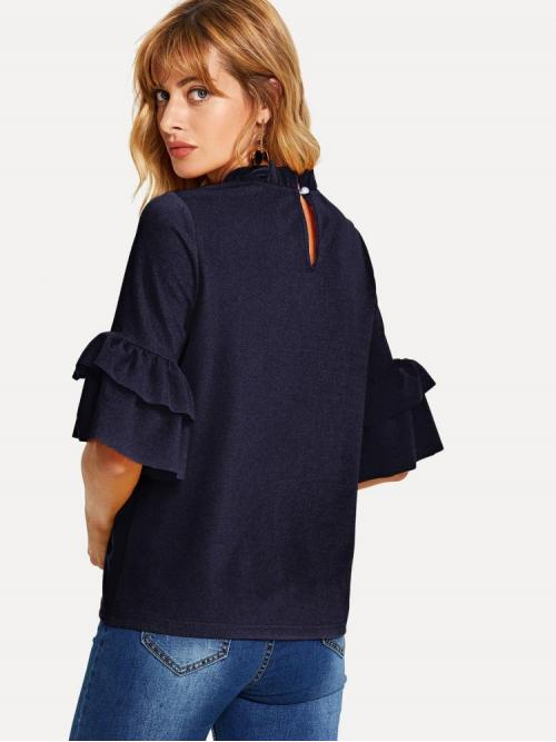 Half Sleeve Top Tiered Layer Polyester Frill Neck Keyhole Back Top Fashion