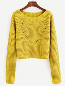 Long Sleeve Pullovers Knot Tweed Eyelet Detail Sweater Discount