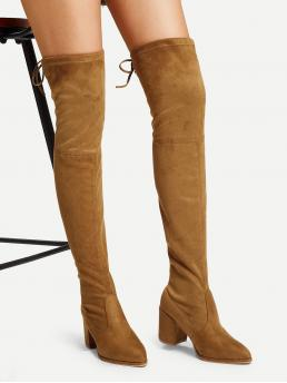 Sock Boots Almond Toe Brown Low Heel Chunky Over The Knee Self Tie Boots