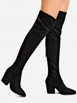Sock Boots Almond Toe Plain Black High Heel Back Zipper Block Heeled Suede Boots