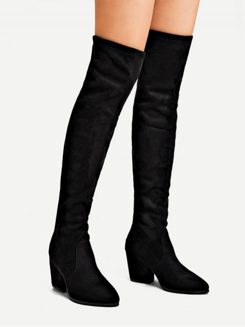 Corduroy Black Stretch Boots Buckle Block Heeled Boots Affordable