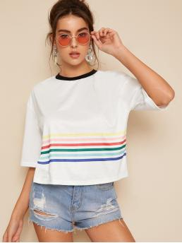 Casual Rainbow Stripe Regular Fit Round Neck Short Sleeve Pullovers White Regular Length Contrast Trim Rainbow Stripe Tee