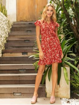 Boho A Line Ditsy Floral V neck Cap Sleeve Butterfly Sleeve High Waist Red Short Length Ditsy Floral Ruffle Trim Knot Wrap Dress