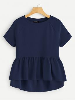 Cute Plain Flared Peplum Regular Fit Round Neck Short Sleeve Pullovers Navy Regular Length Solid Raglan Sleeve Ruffle Hem Top