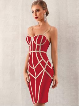 Glamorous Cami Pencil Slim Fit Spaghetti Strap Sleeveless Natural Red Midi Length Adyce Zip Back Bustier Bandage Slip Dress with Chest pad