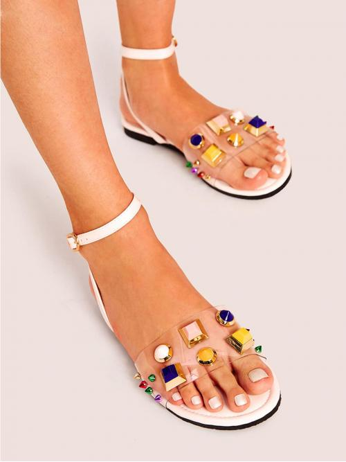 Glamorous Open Toe Ankle Strap White Studded Decor Ankle Strap Sandals