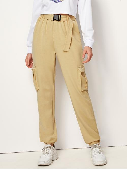 Casual Plain Sweatpant Regular High Waist Khaki Long Length Double Pocket Buckle Belted Cargo Pants with Belt