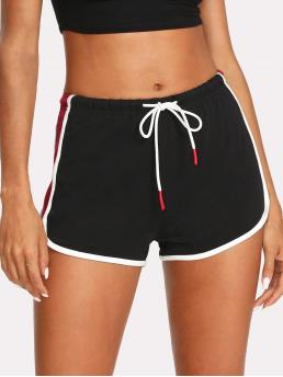 Sporty Colorblock Skinny Drawstring Waist and Elastic Waist Mid Waist Black Contrast Binding Color Block Dolphin Shorts