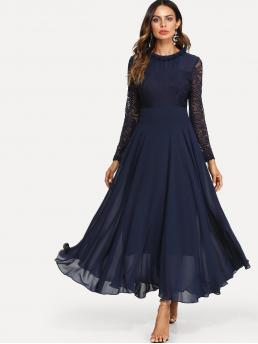 Romantic A Line Plain Loose Round Neck Long Sleeve High Waist Navy Maxi Length Lace Top Maxi Flowy From Dress with Lining