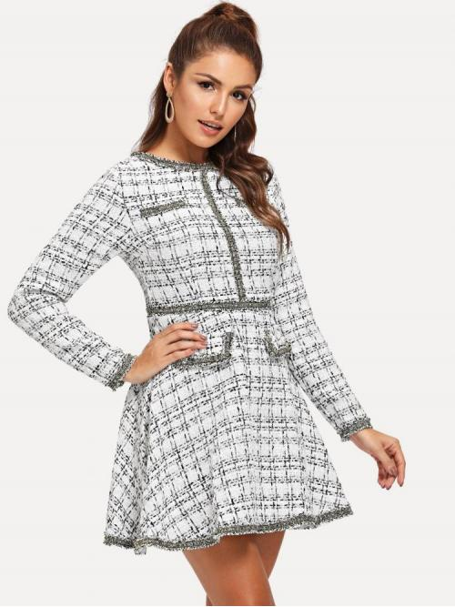 Affordable Black and White Plaid Pearls Round Neck Contrast Trim Grid Dress