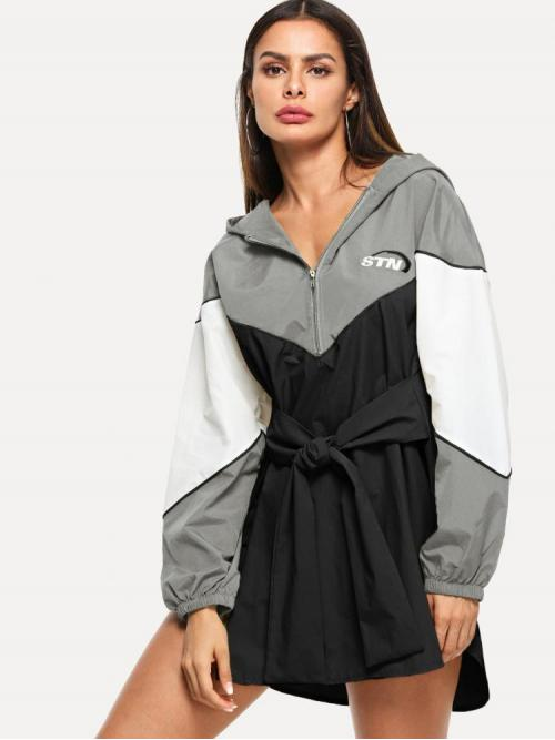 Multicolor Colorblock Embroidery Hooded Letter Dress on Sale