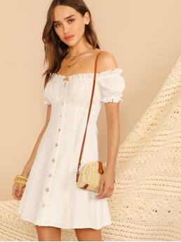 Boho A Line Plain Flared Loose Off the Shoulder Short Sleeve High Waist White Short Length Button Front Puff Sleeve Off Shoulder Dress