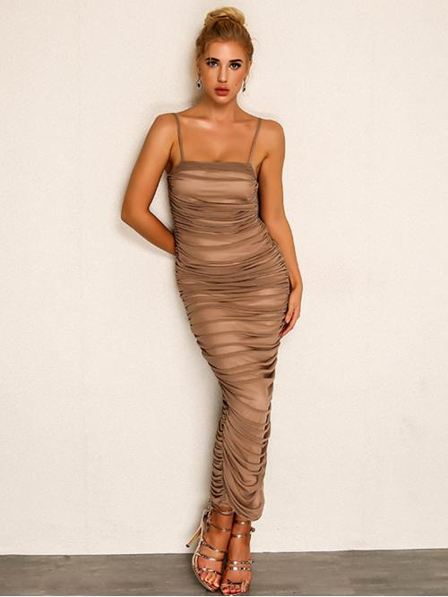 Glamorous Cami Plain Slit Regular Fit Spaghetti Strap Sleeveless Natural Khaki Maxi Length Joyfunear Side Slit Ruched Maxi Cami Dress