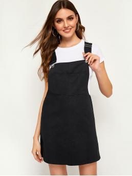 Preppy Pinafore Plain Straight Regular Fit Straps Sleeveless High Waist Black Short Length Solid Pinafore Dress