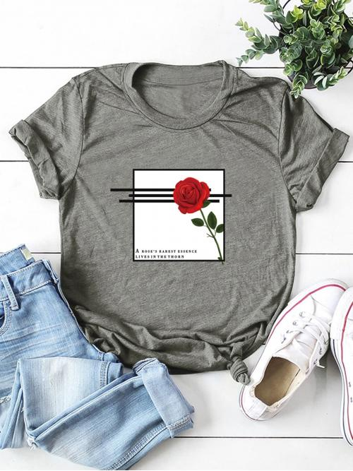 Casual Letter and Floral Regular Fit Round Neck Short Sleeve Regular Sleeve Pullovers Grey Regular Length Round Neck Rose And Slogan Graphic Tee