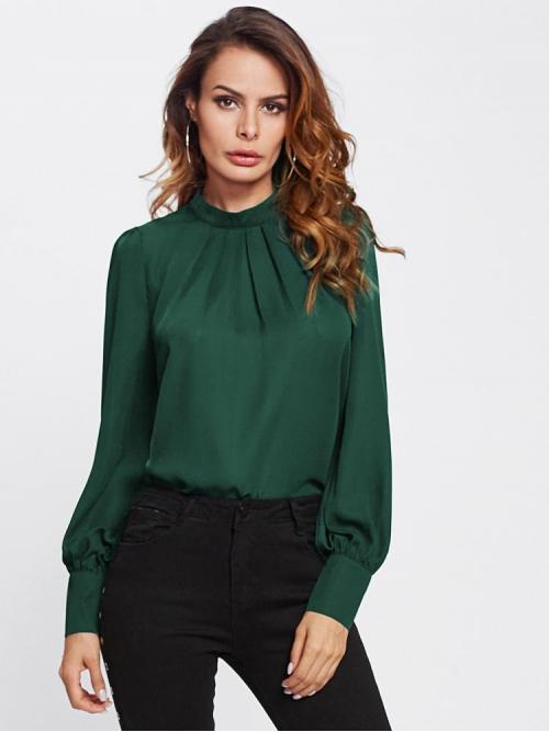 Shopping Long Sleeve Top Pleated Chiffon Gathered Neck Curved Hem Blouse