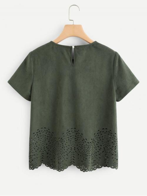 Fashion Short Sleeve Top Scallop Suede Laser Cut out Top