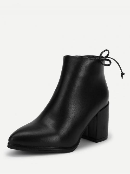 Corduroy Black Chelsea Boots Bow Tie Heeled Boots Discount