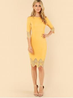 Elegant Pencil Plain Bodycon Boat Neck Three Quarter Length Sleeve Natural Yellow Midi Length Laser Cut Zip Back Pencil Dress
