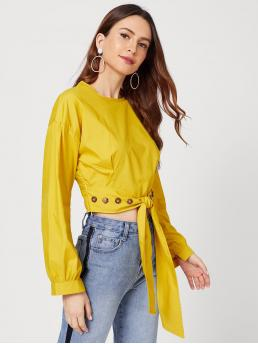 Casual Plain Top Regular Fit Round Neck Long Sleeve Pullovers Yellow Button Detail Knot Waist Blouse