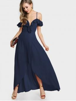 Navy Blue Plain Wrap Sweetheart Frill Cold Shoulder Plunge Dress Shopping
