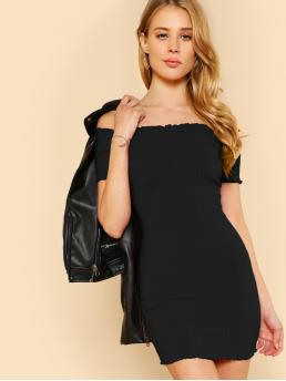 Shopping Black Plain Lettuce Trim off the Shoulder Lettuce Edge Detail Ribbed Bardot Dress