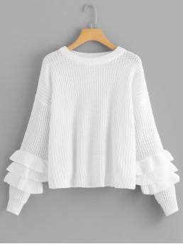 Womens Long Sleeve Pullovers Tiered Layer Satin Solid Tiered Ruffle Sleeve Sweater