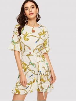 Elegant Animal Wrap Loose Round Neck Short Sleeve Flounce Sleeve Natural Multicolor Short Length Tiger and Chain Print Wrap Belted Dress with Belt