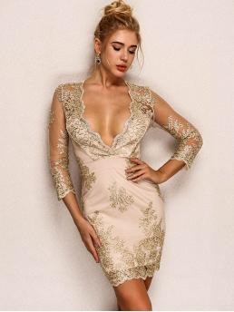 Sexy Slim Fit Deep V Neck Three Quarter Length Sleeve Natural Gold Short Length Joyfunear Lace-up Back Embroidery Plunging Dress