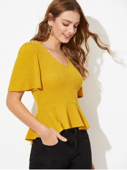 Elegant Plain Flared Regular Fit V neck Half Sleeve Flounce Sleeve Pullovers Yellow Regular Length Rib-knit Flutter Sleeve Peplum Top