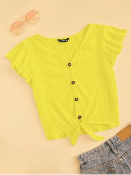 Casual Plain Regular Fit V neck Cap Sleeve Butterfly Sleeve Yellow and Bright Regular Length Neon Yellow Buttoned Front Knot Hem Rib-knit Top