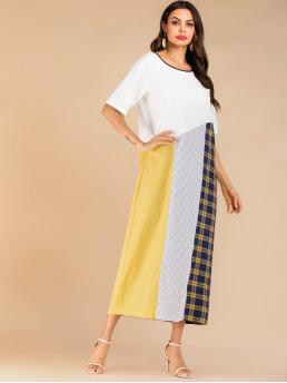 Casual A Line Plaid and Polka Dot and Colorblock Straight Loose Scoop Neck Half Sleeve Regular Sleeve Natural Multicolor Maxi Length Plaid & Polka Dot Contrast Colorblock Dress