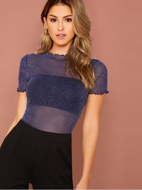 Glamorous and Sexy Plain Slim Fit Round Neck Short Sleeve Pullovers Navy Regular Length Lettuce Trim Sheer Mesh Glitter Top Without Bandeau