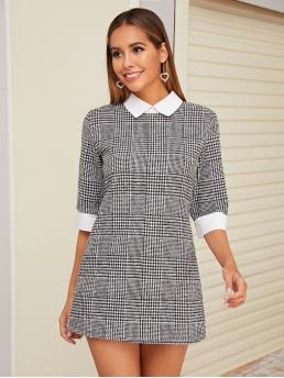 Preppy Fitted Houndstooth Straight Regular Fit Peter Pan Collar Half Sleeve Regular Sleeve Natural Grey Short Length Tweed Contrast Collar Houndstooth Fitted Dress